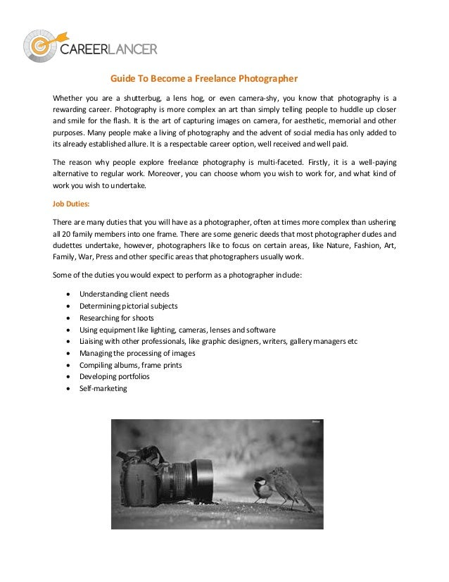Guide to become a freelance photographer