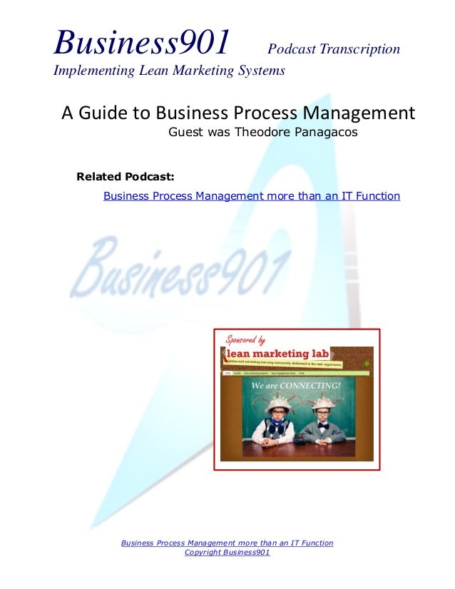 Business901 Podcast Transcription Implementing Lean Marketing Systems Business Process Management more than an IT Function...