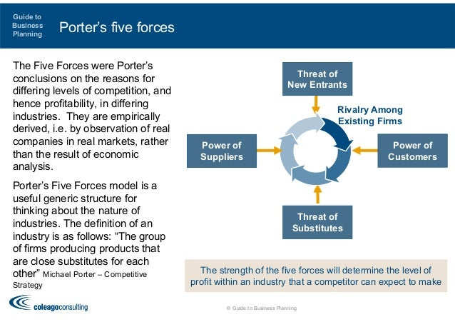 porter five forces myer The five forces model is a tool developed by michael porter of harvard business school in 1979 that is often used by businesses during the strategic planning process, along with the swot (strengths, weaknesses, opportunities and threats) analysis to identify both internal and external forces that currently, or have.