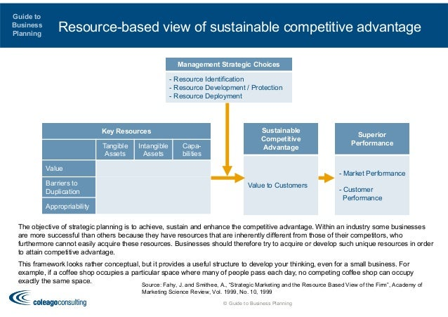resource based view of a company shows their sustainable advantage This was known as the resource based view of the firm (grant, 1991)  (2)  shows the asserted interdependence between a company's strategy and its.