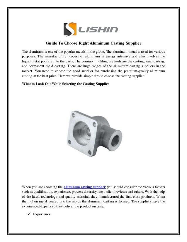 Guide To Choose Right Aluminum Casting Supplier