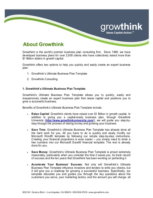 Guide To Developing Your Business Plan - Growthink s ultimate business plan template