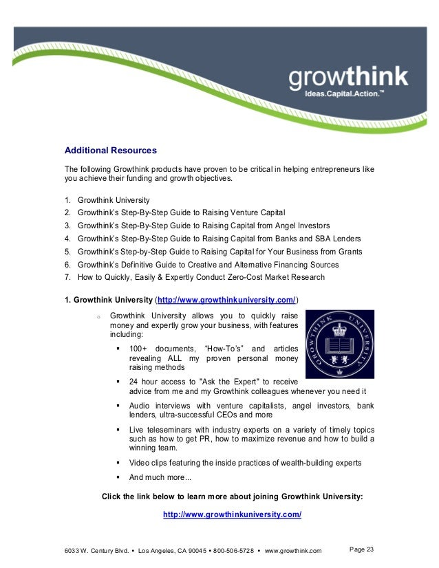Growthink ultimate business plan template