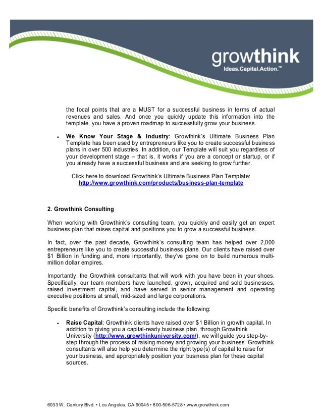 growthink ultimate hotel business plan template
