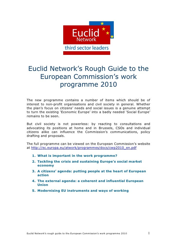 Euclid Network's Rough Guide to the     European Commission's work            programme 2010  The new programme contains a...
