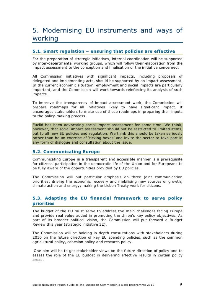 5. Modernising EU instruments and ways of working 5.1. Smart regulation – ensuring that policies are effective For the pre...