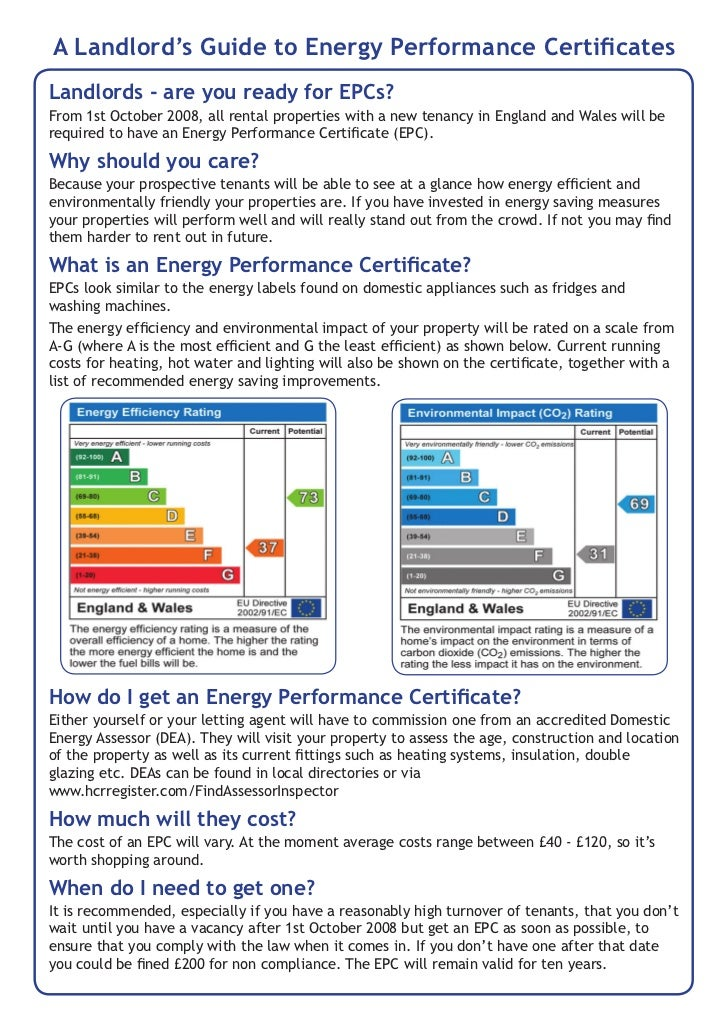 A Landlord's Guide to Energy Performance CertificatesLandlords - are you ready for EPCs?From 1st October 2008, all rental ...