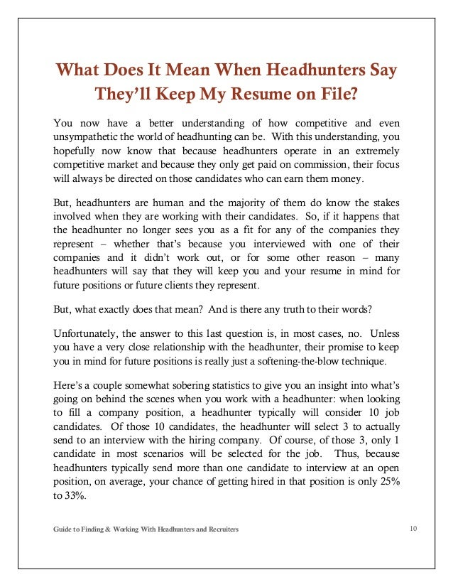 guide to finding and working with headhunters and recruiters pdf