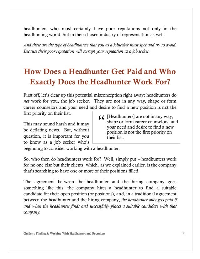 Guide to Finding and Working With Headhunters and Recruiters - PDF