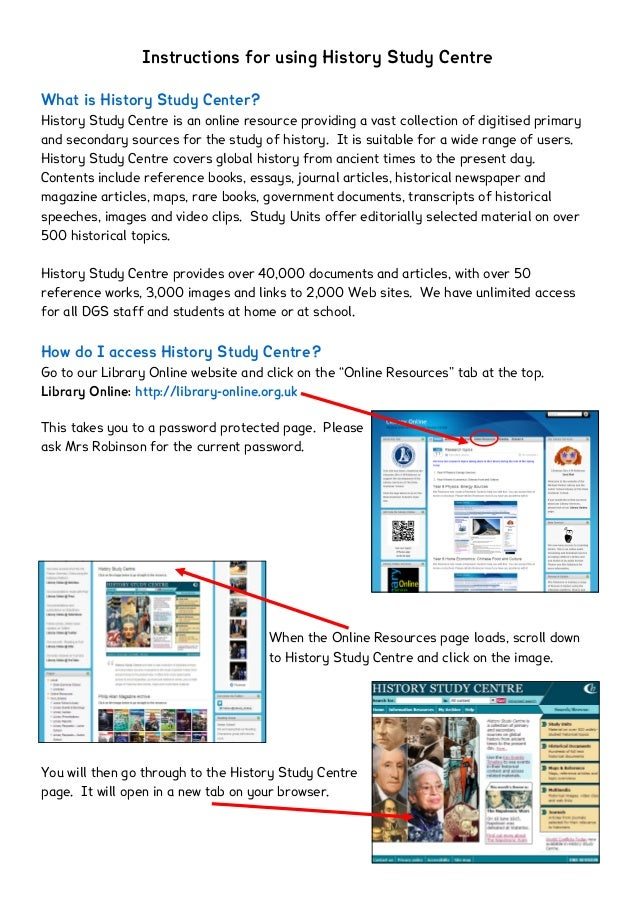 Instructions for using History Study CentreWhat is History Study Center?History Study Centre is an online resource providi...