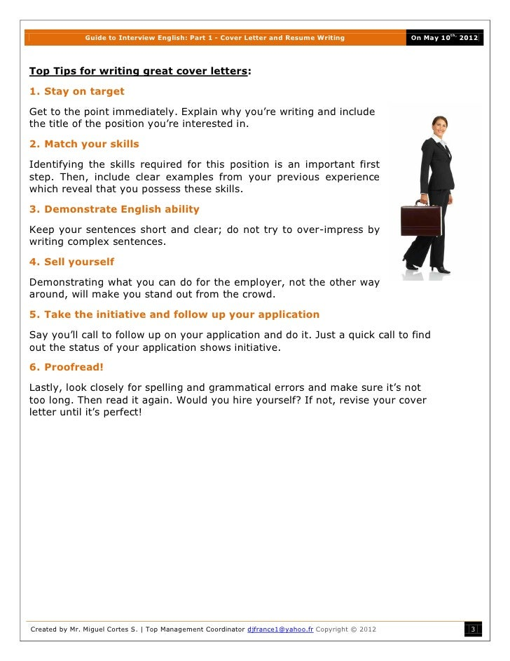 ... 3. Guide To Interview English: Part 1   Cover Letter And Resume Writing  ...