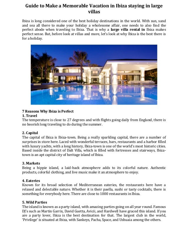 Guide to make a memorable vacation in ibiza staying in large