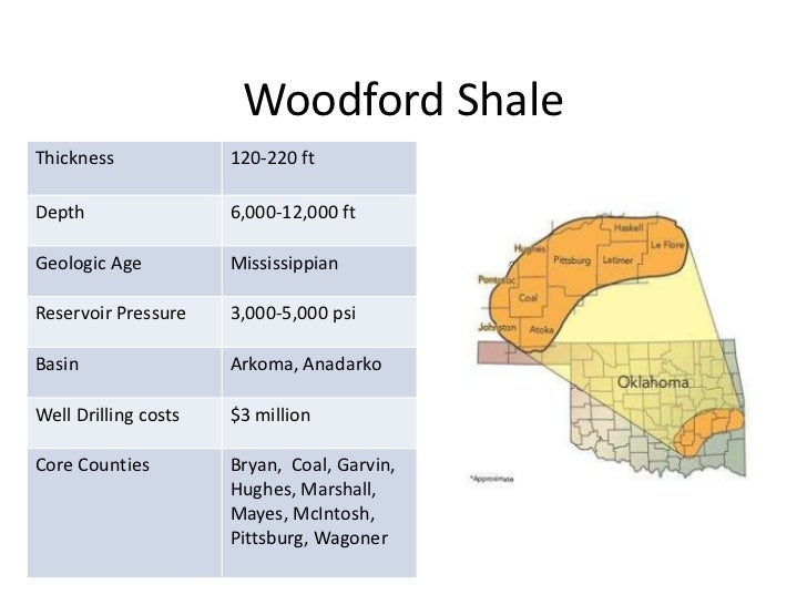 Woodford ShaleThickness             120-220 ftDepth                 6,000-12,000 ftGeologic Age          MississippianRese...