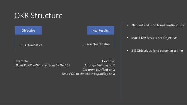 OKR Structure Objective Key Results … is Qualitative … are Quantitative Example: Build X skill within the team by Dec' 14 ...