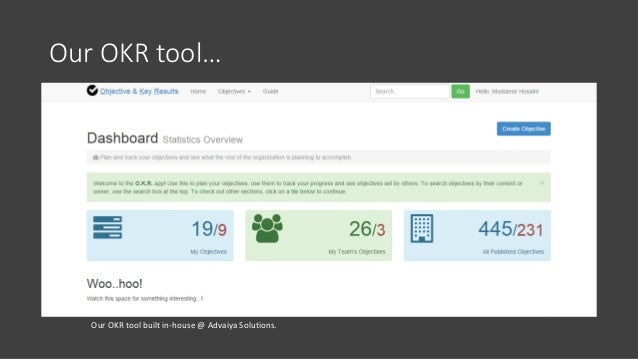 Our OKR tool… Our OKR tool built in-house @ Advaiya Solutions.