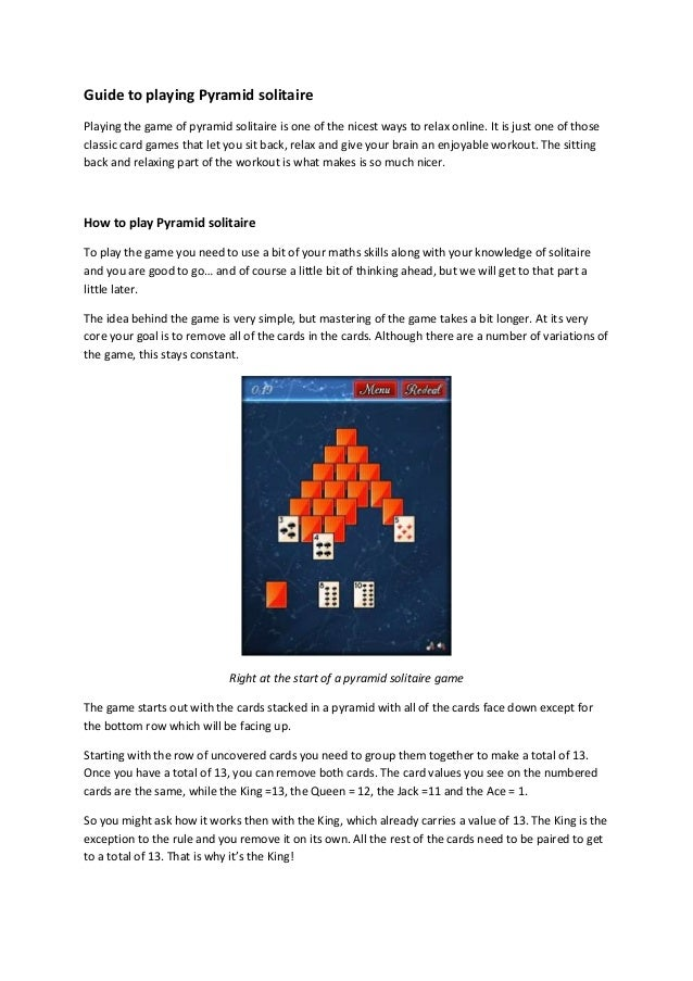Guide To Playing Pyramid Solitaire