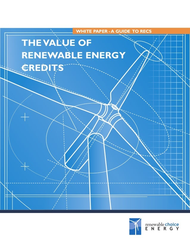 WHITE PAPER - A GUIDE TO RECS  THE VALUE OF RENEWABLE ENERGY CREDITS