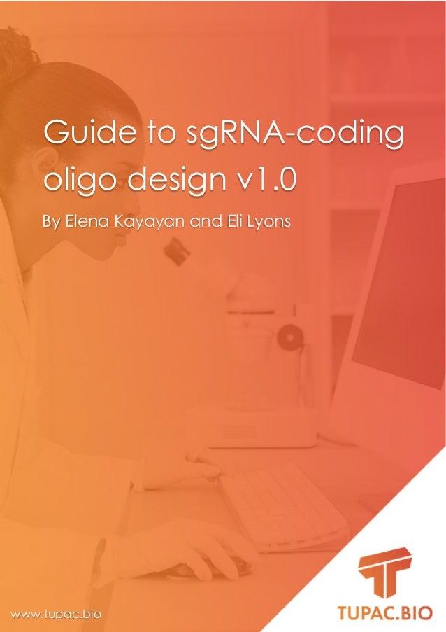 www.tupac.bio support@tupac.bio 0 Guide to sgRNA-coding oligo design v1.0 By Elena Kayayan and Eli Lyons www.tupac.bio