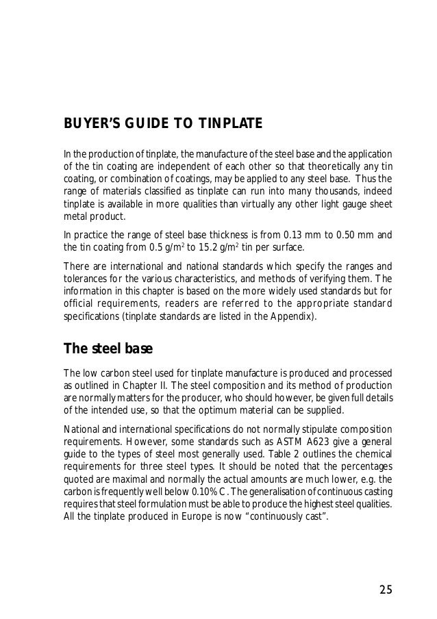 Guide to tinplate