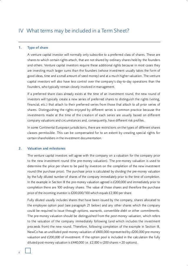 guide to vc term sheet