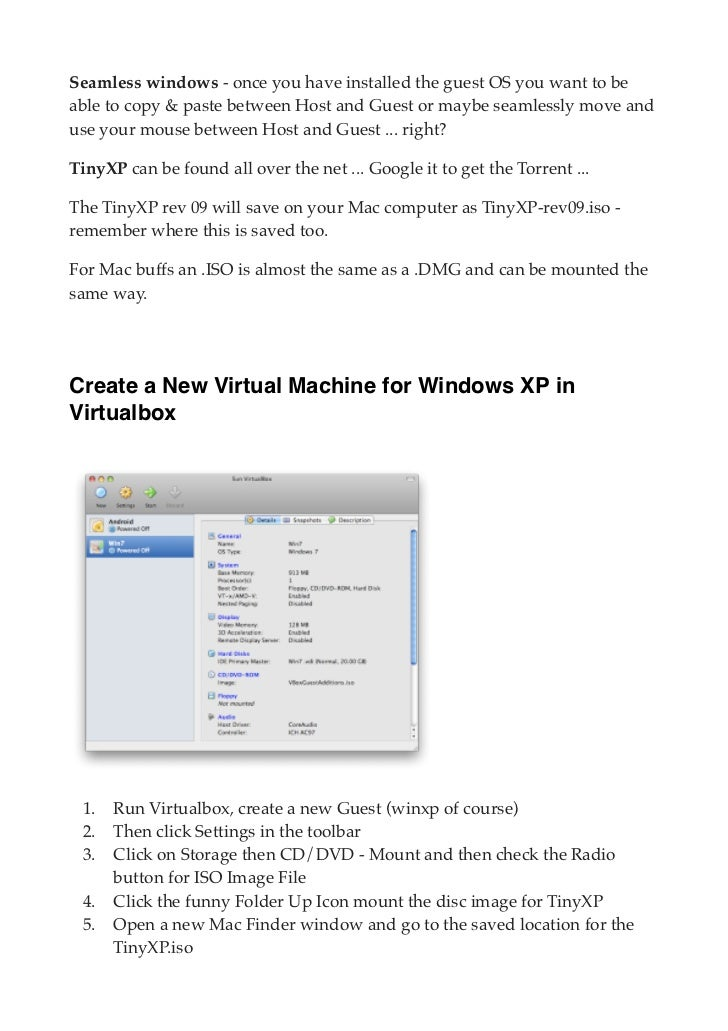 Guide to virtualbox and tiny xp for mac os