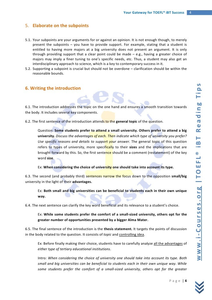 Guide to writing a toefl essay independent task for Toefl writing template independent
