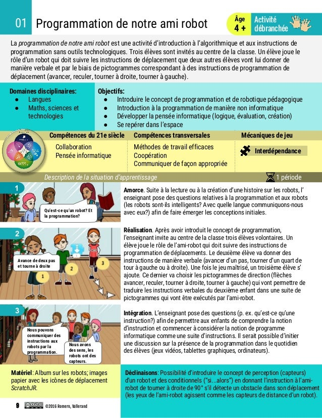 Intégration. L'enseignant pose des questions (p. ex. qu'est-ce qu'une instruction?) afin de permettre aux enfants de compr...