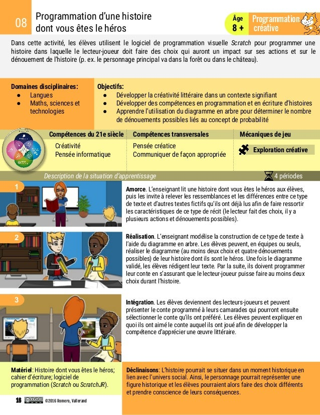 Dans cette activité, les élèves utilisent le logiciel de programmation visuelle Scratch pour programmer une histoire dans ...