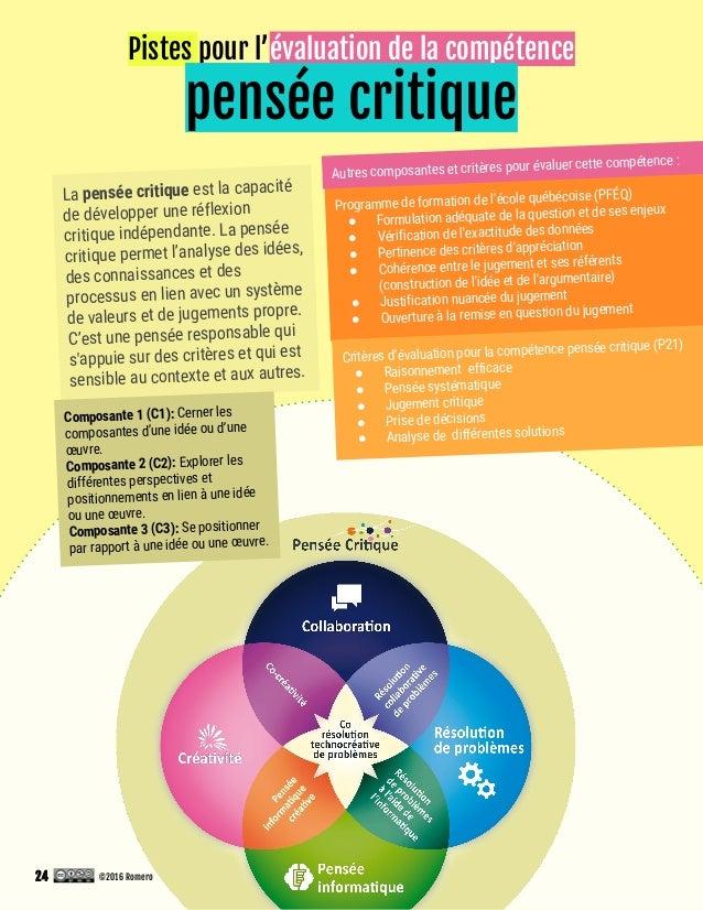 Pistes pour l'évaluation de la compétence pensée critique Programme de formation de l'école québécoise (PFÉQ) ● Formulatio...