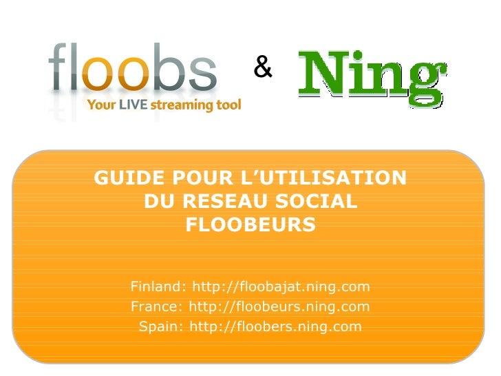 & GUIDE POUR L'UTILISATION DU RESEAU SOCIAL FLOOBEURS Finland: http://floobajat.ning.com France: http://floobeurs.ning.com...