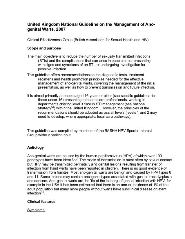 United Kingdom National Guideline on the Management of Ano-genital Warts, 2007Clinical Effectiveness Group (British Associ...