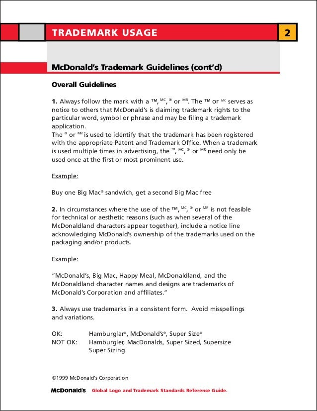 TRADEMARK USAGE                                                           2McDonald's Trademark Guidelines (cont'd)Overall...