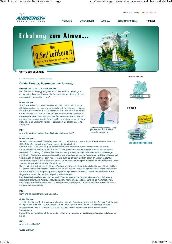 Guido Bierther - Worte des Begründers von Airnergy                                            http://www.airnergy.com/wort...
