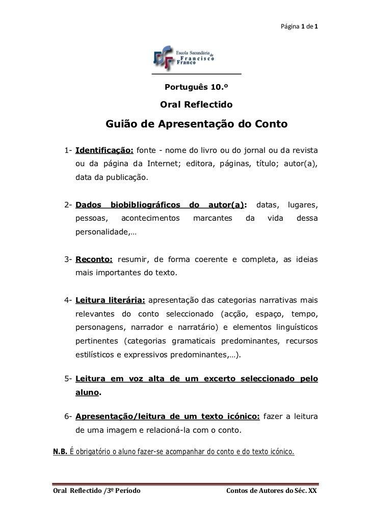 Página 1 de 1                                  Português 10.º                                 Oral Reflectido             ...