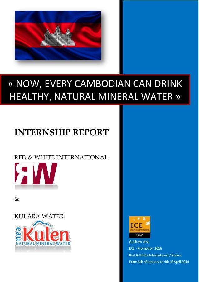 INTERNSHIP REPORT RED & WHITE INTERNATIONAL & KULARA WATER Guilhem VIAL ECE - Promotion 2016 Red & White International / K...