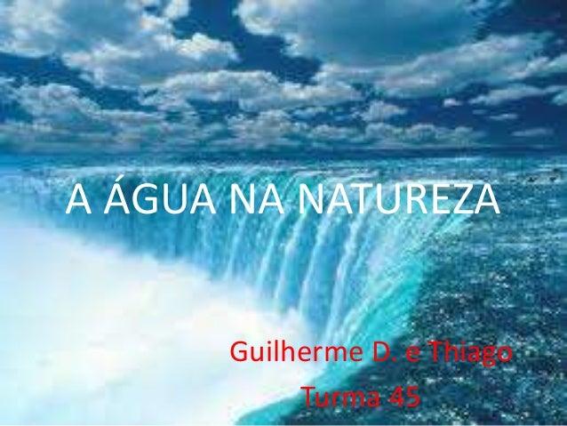 A ÁGUA NA NATUREZAGuilherme D. e ThiagoTurma 45