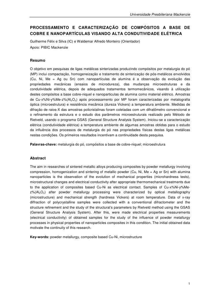 Universidade Presbiteriana MackenziePROCESSAMENTO E CARACTERIZAÇÃO DE COMPÓSITOS A BASE DECOBRE E NANOPARTÍCULAS VISANDO A...