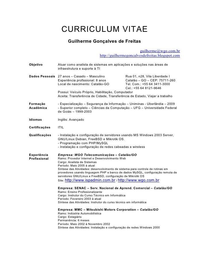 CURRICULUM VITAE                        Guilherme Gonçalves de Freitas                                                    ...
