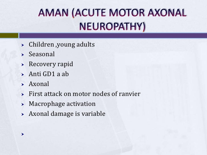 Acute axonal motor neuropathy for What is motor neuropathy