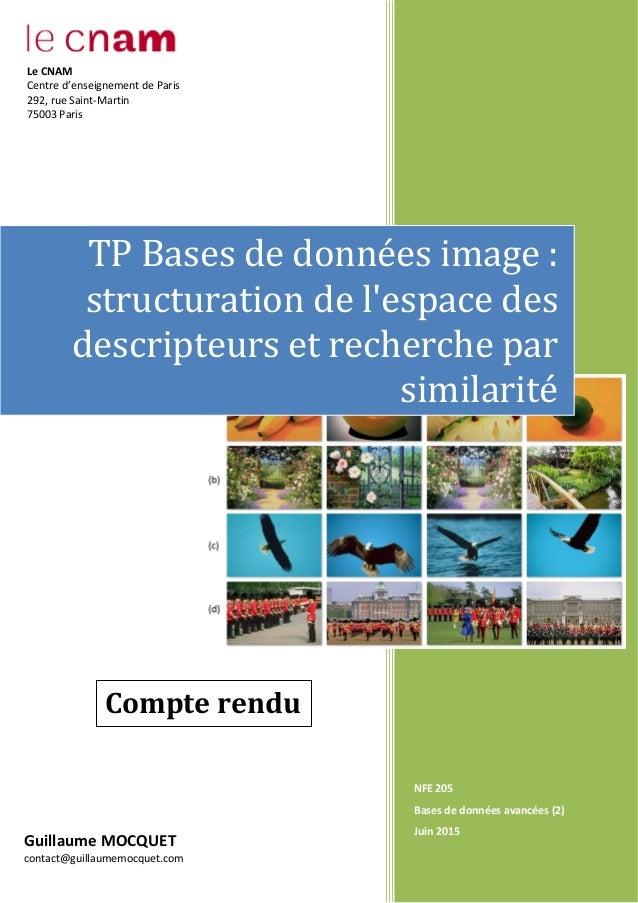 NFE 205 Bases de données avancées (2) Juin 2015 TP Bases de données image : structuration de l'espace des descripteurs et ...