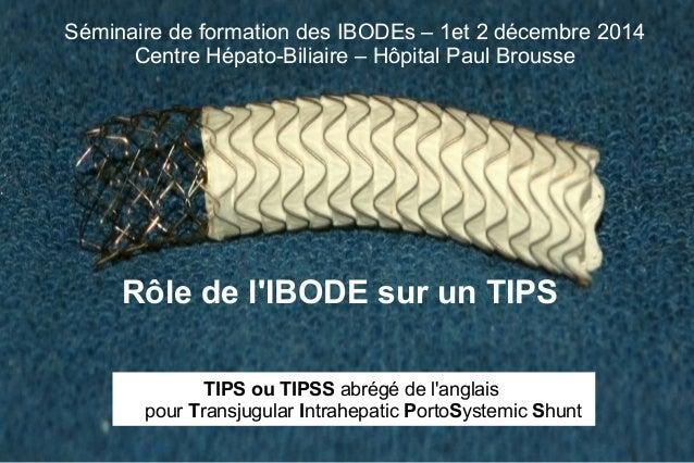 Séminaire de formation des IBODEs – 1et 2 décembre 2014  Centre Hépato-Biliaire – Hôpital Paul Brousse  Rôle de l'IBODE su...