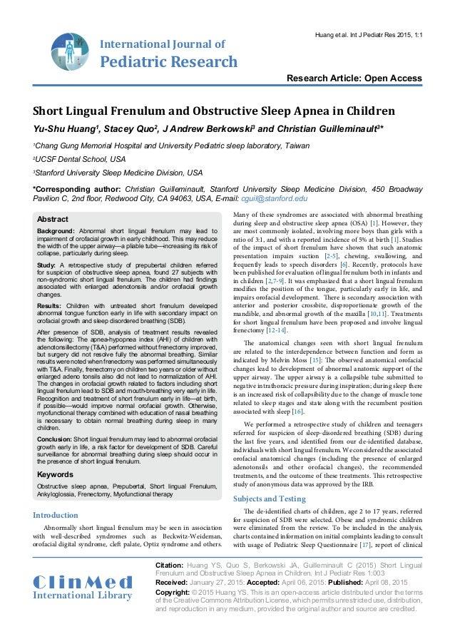 International Journal of Pediatric Research Research Article: Open Access C l i n M e d International Library Citation: Hu...