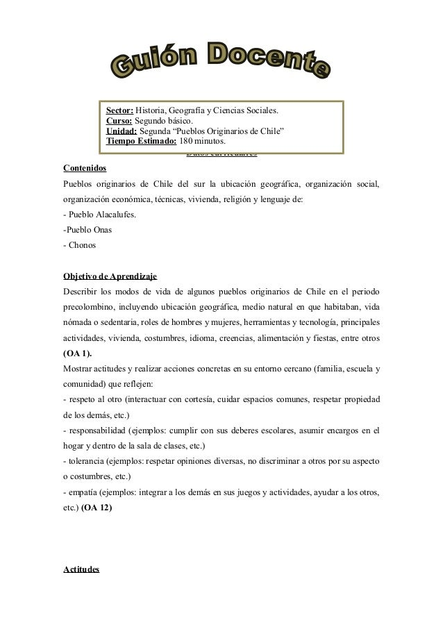 """Sector: Historia, Geografía y Ciencias Sociales. Curso: Segundo básico. Unidad: Segunda """"Pueblos Originarios de Chile"""" Tie..."""