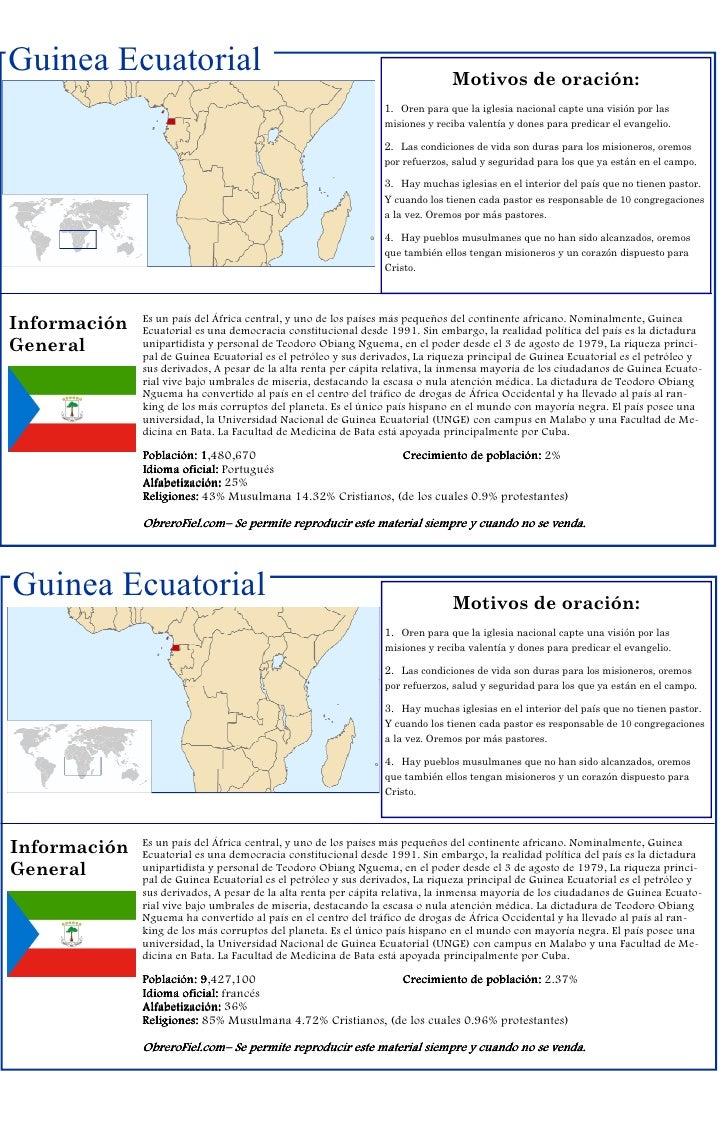 Guinea Ecuatorial                                                            Motivos de oración:                          ...