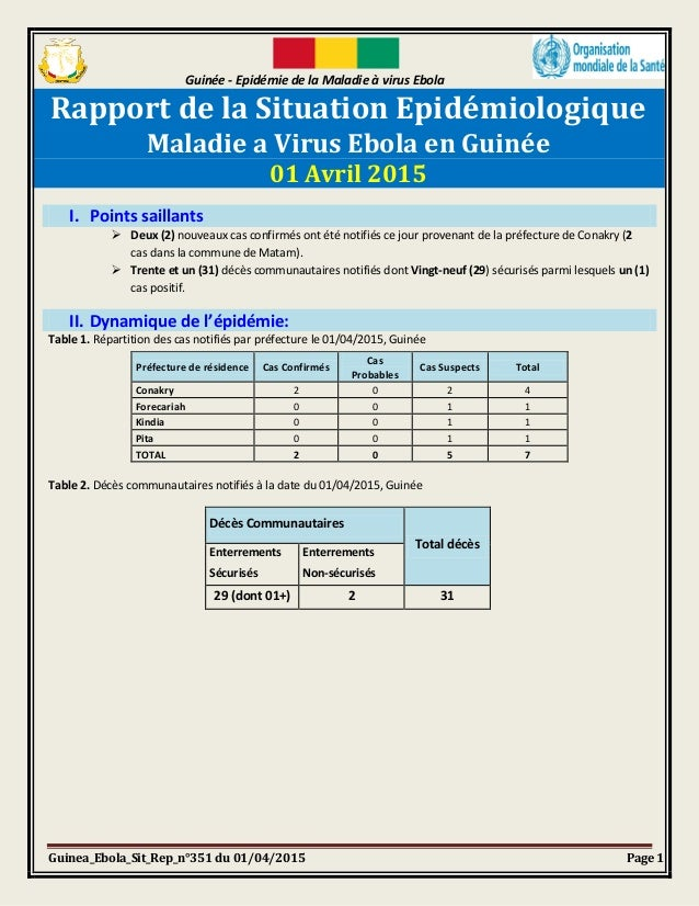 Guinée - Epidémie de la Maladie à virus Ebola Guinea_Ebola_Sit_Rep_n°351 du 01/04/2015 Page 1 Rapport de la Situation Epid...