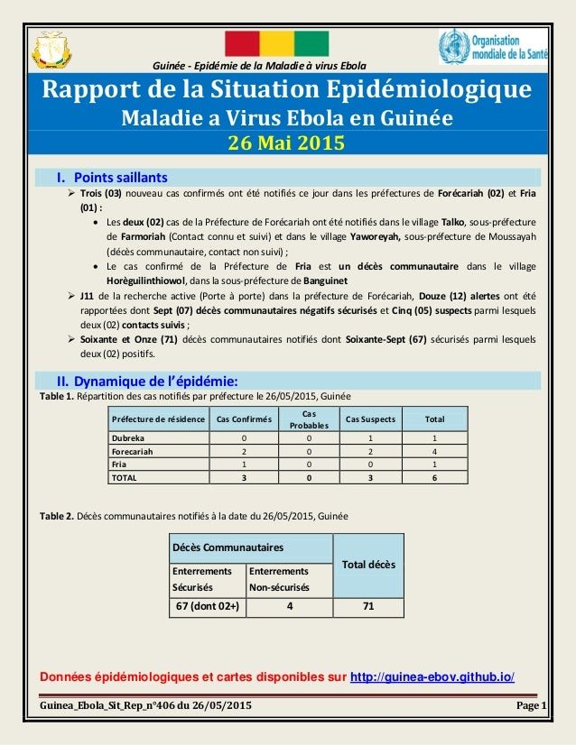 Guinée - Epidémie de la Maladie à virus Ebola Guinea_Ebola_Sit_Rep_n°406 du 26/05/2015 Page 1 Rapport de la Situation Epid...