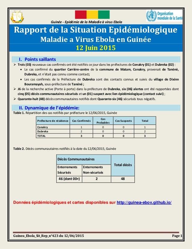 Guinée - Epidémie de la Maladie à virus Ebola Guinea_Ebola_Sit_Rep_n°423 du 12/06/2015 Page 1 Rapport de la Situation Epid...