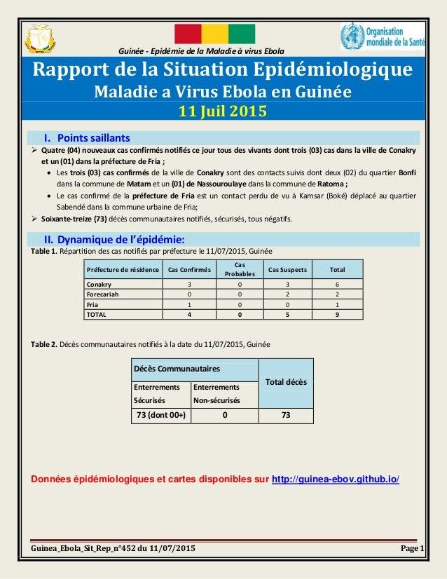Guinée - Epidémie de la Maladie à virus Ebola Guinea_Ebola_Sit_Rep_n°452 du 11/07/2015 Page 1 Rapport de la Situation Epid...