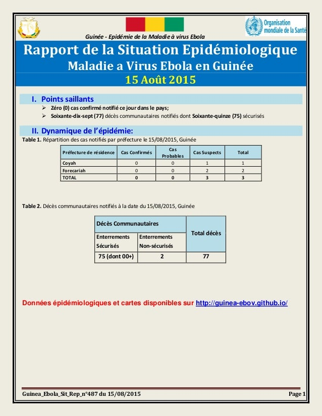 Guinée - Epidémie de la Maladie à virus Ebola Guinea_Ebola_Sit_Rep_n°487 du 15/08/2015 Page 1 Rapport de la Situation Epid...