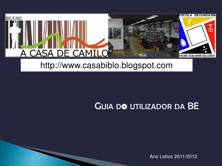 ESCOLA SECUNDÁRIA PADRE BENJAMIMSALGADOBIBLIOTECA DA BENJAMIM HTTP://WWW.CASABIBLO.BLOGSPOT.COM/http://www.casabiblo.blogs...